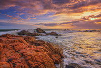 Rocky sea coast at sunset