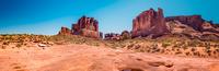 Sandstone rock formations in desert