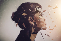 Profile portrait of woman with polygon effect