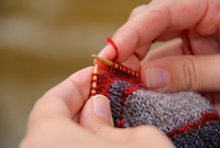 Close-up of hands crocheting
