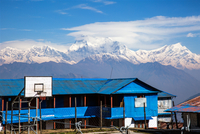 Basketball court in holiday resort in mountains