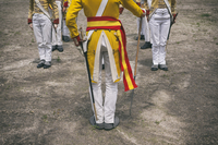Military band in yellow uniforms