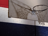 Basketball hoop in sports hall