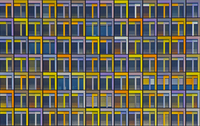 Background of colorful windows of skyscraper