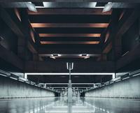 Illuminated airport hallway