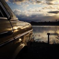 Back of vintage car at dusk