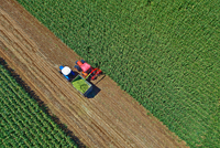 Top view of tractors harvesting crops in field