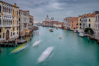 Canal, gondolas and townhouses, Venice, Italy