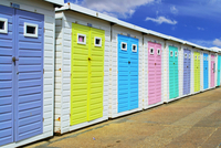 Row of colorful sheds