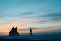 Coastal rock formation at dusk