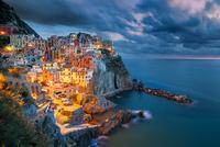 Mediterranean old town on hillside on seashore
