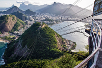 Cable car wires to mountain near city