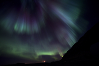 Aurora borealis in sky