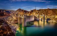 Dam on river in desert