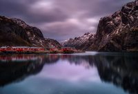 Scandinavian fishing houses and fjords