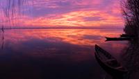 Lake at purple dusk