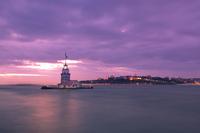 Lighthouse at cloudy dusk