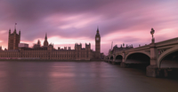 Westminster Palace and Thames river at sunset, London, UK