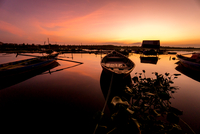 Moored boats at sunset