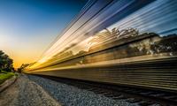 Long exposure shot of train at sunset