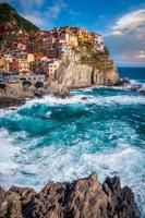 Mediterranean old town on cliff on seashore