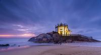 Beach chapel at dusk