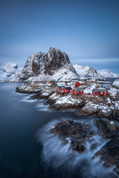 Scandinavian fishing houses in winter