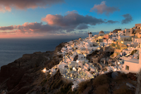 Cycladic architecture old town on hillside, Cyclades, Greece