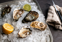 Fresh oyster in ice with lemon