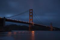 Illuminated Golden Gate Bridge at night, San Francisco, California, USA