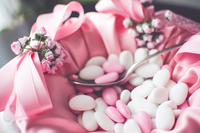 Pink and white candies