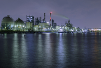 River and industrial skyline at dusk
