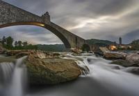 Bridge, river and overcast sky