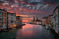 Canal and gondolas at sunset, Venice, Italy