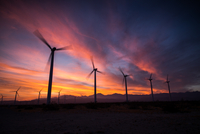 Windmills at sunset, Palm Springs, California, USA