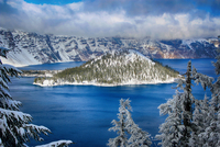 Island on lake in winter, Crater Lake National Park, Oregon, USA