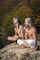 Two middle aged mans in yoga pose against forest