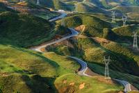 High angle view of road and green hills, Guizhou, Panxian, China