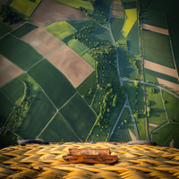 Patchwork landscape view from hot air balloon, Hesse, Germany