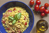Bulgur salad with fresh basil and cherry tomatoes, Italy