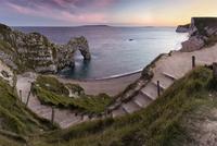 Steps near Durdle Door rock formation of Jurassic Coast, Lulworth, Dorset, England, UK