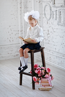Portrait of girl (6-7) sitting on chair and reading book