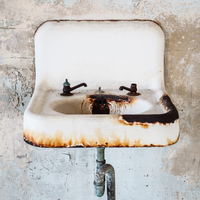 Old rusty sink in Alcatraz, Alcatraz Island, California, USA