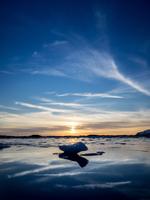 Sunset over Jokulsarlon lake, Iceland
