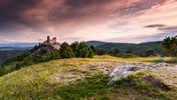 Cachtice Castle ruins at dawn, Slovakia