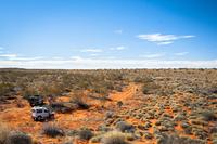 Jeep in desert, Simpson Desert, Australia