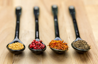 Close up of spoons with spices