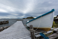Moored boat on cloudy day, Twillingate, Newfoundland, Canada