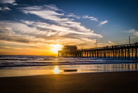 Beach pier at sunset, Laguna Beach, California, USA