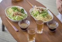 Close up of zaru ramen with fresh chicken salad, Japan